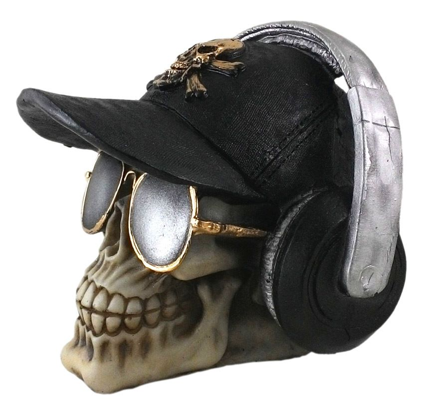 Crânio Caveira Skull Boné Preto Fone Óculos Decorativo Resina