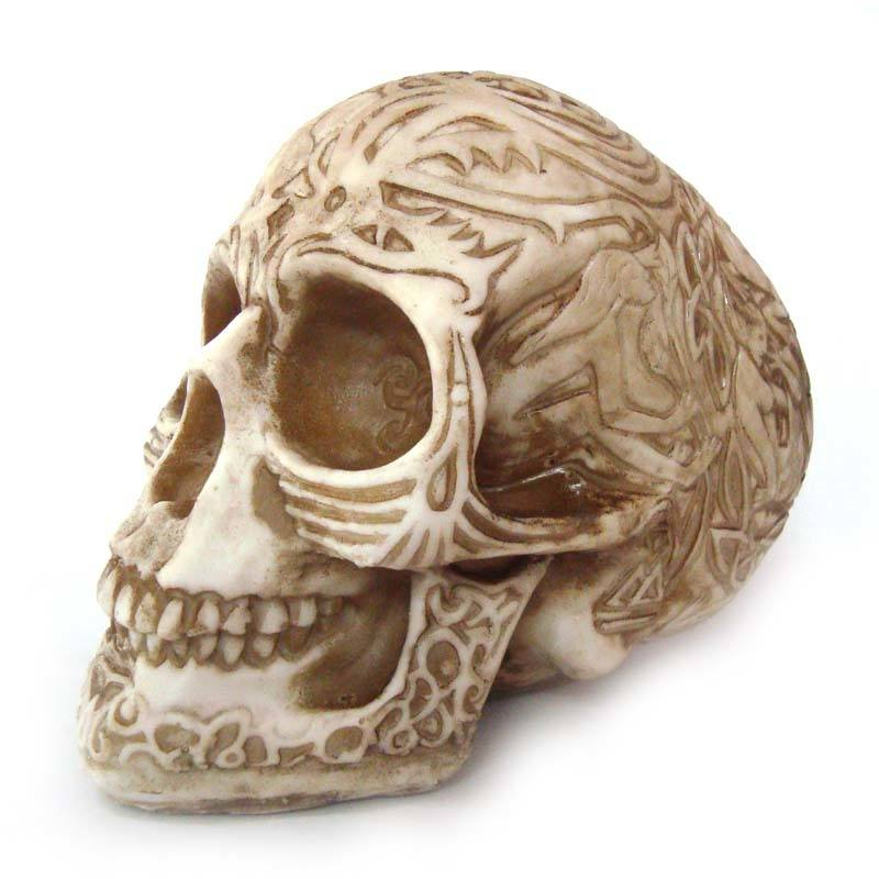 Crânio Caveira Skull Tribal Inca Decorativo Resina