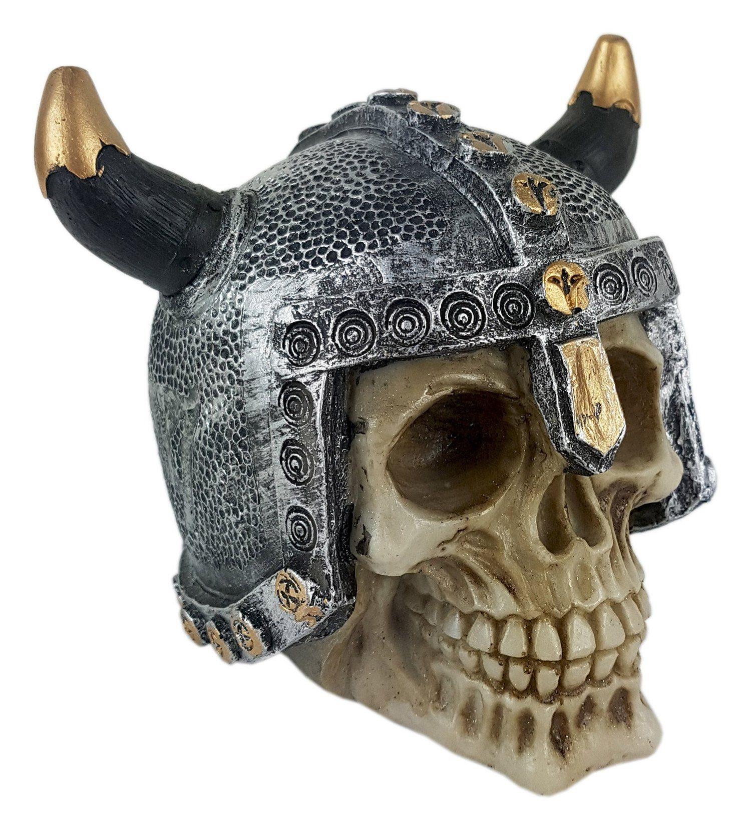 Crânio Caveira Viking Capacete Chifre Decorativo Resina