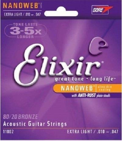 Encordoamento ELIXIR NANOWEB 0.010-0.047 Para Violão Aço
