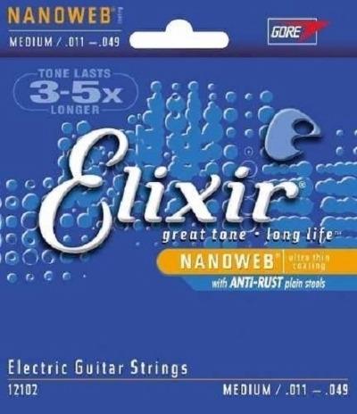 Encordoamento ELIXIR NANOWEB 0.011-0.049 Para Guitarra