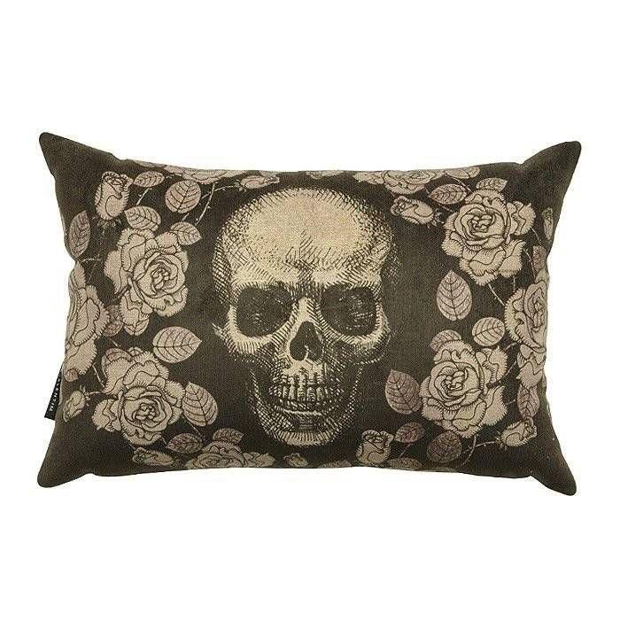 Almofada 30 Skull Roses Black