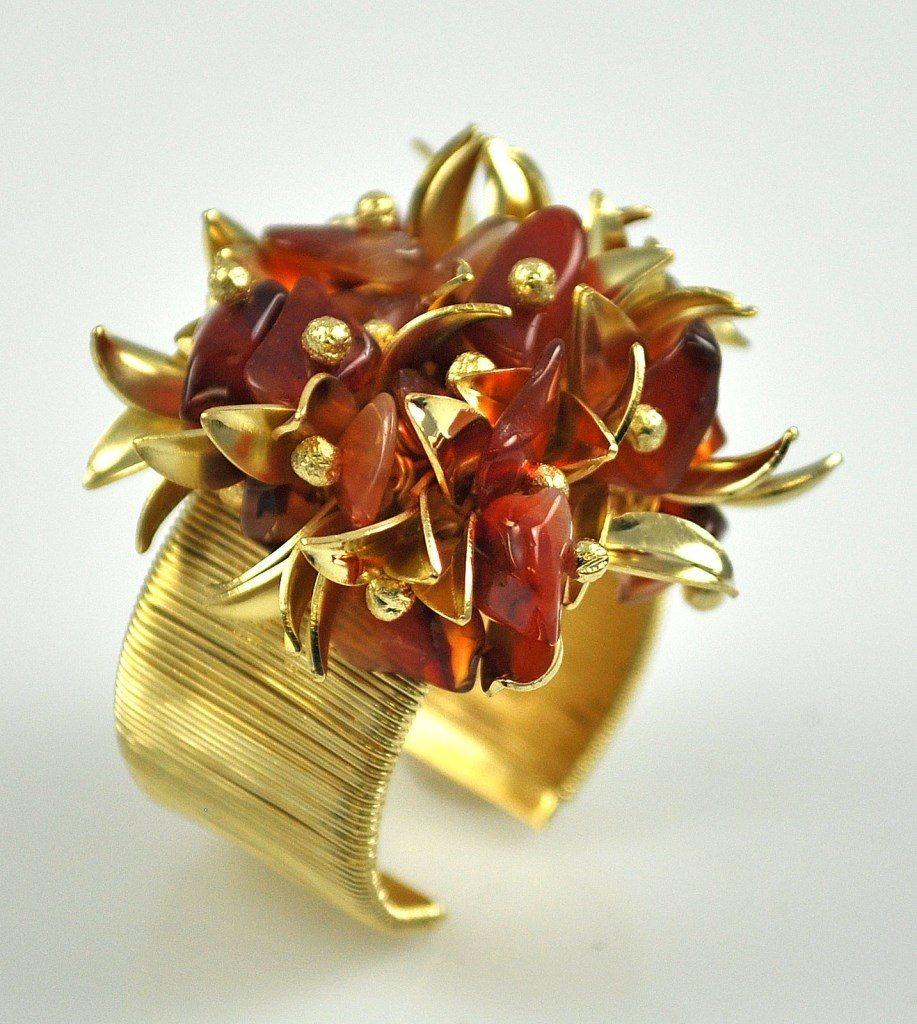 Anel Tita Karan Banhado a Ouro de 18K com Folhas de Ágata e Ouro