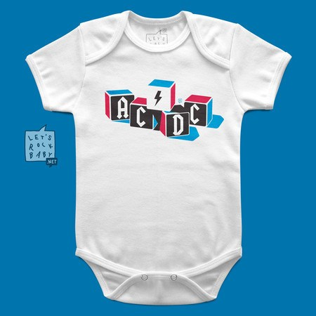 Body Infantil Let's Rock Baby ACDC Blocos