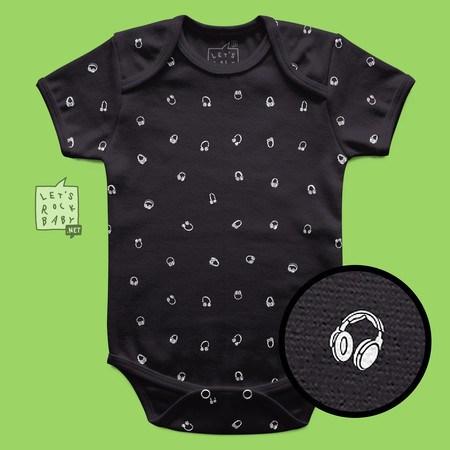 Body Infantil Let's Rock Baby Estampinha Headphones