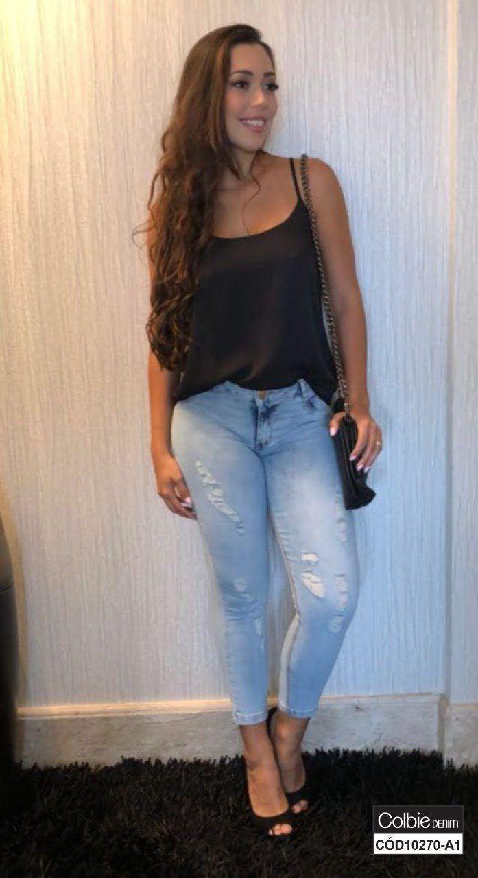 Calça Jeans Cropped com Lavagem Destroyed [10270-A1]