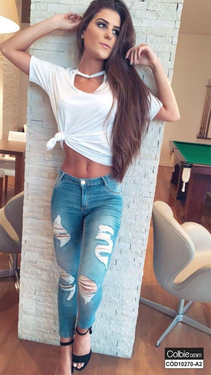 Calça Jeans Cropped com Lavagem Destroyed [10270-A2]