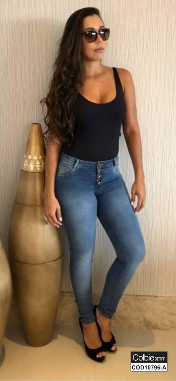 Calça Jeans Skinny com Lavagem Média [10796-A]