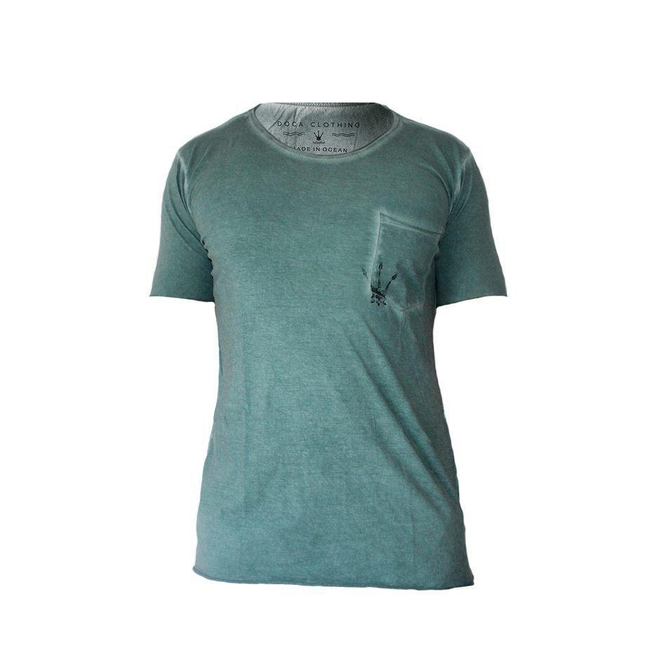 Camiseta Masculina Doca Clothing 100% Algodão Bolso Militar Verde