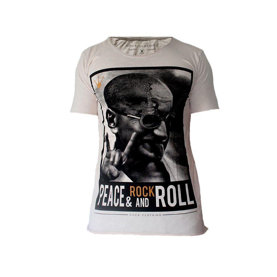 Camiseta Masculina Doca Clothing 100% Algodão Peace and Rock
