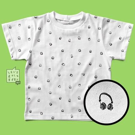 Camiseta Infantil Let's Rock Baby Estampinha Headphones