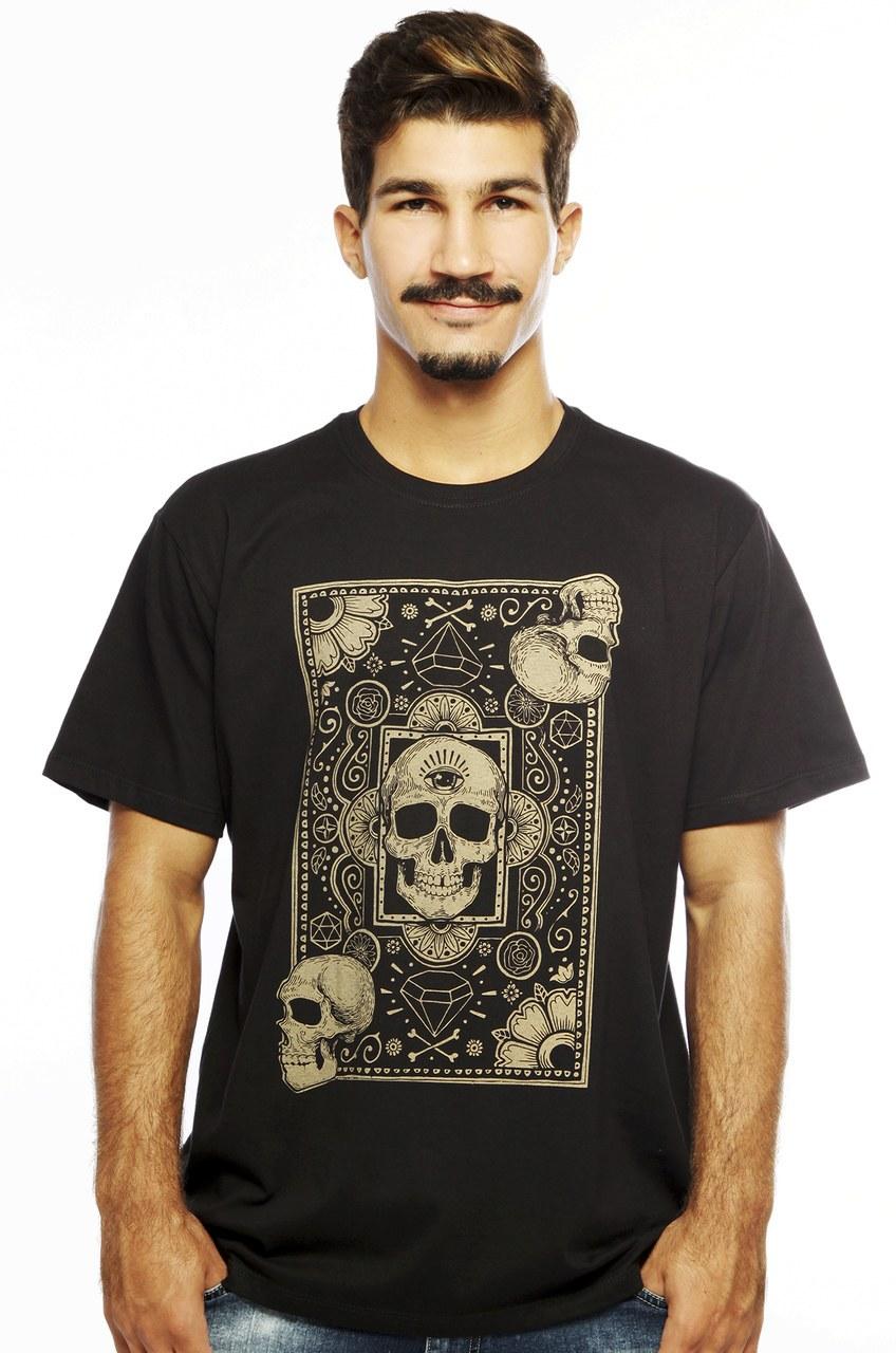Camiseta MasculinaEstampada Cards of Skull Preto Hardivision