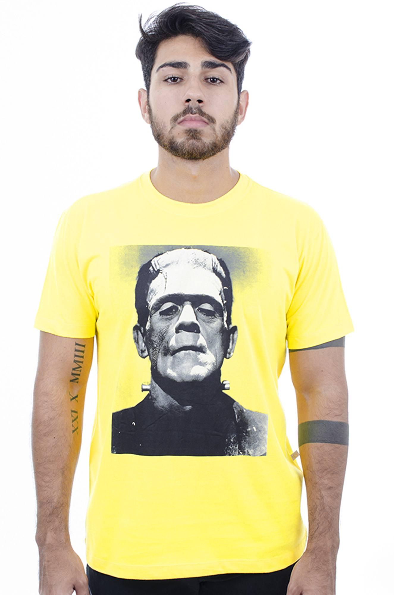 Camiseta Masculina Estampada Hardivision Frank Amarelo