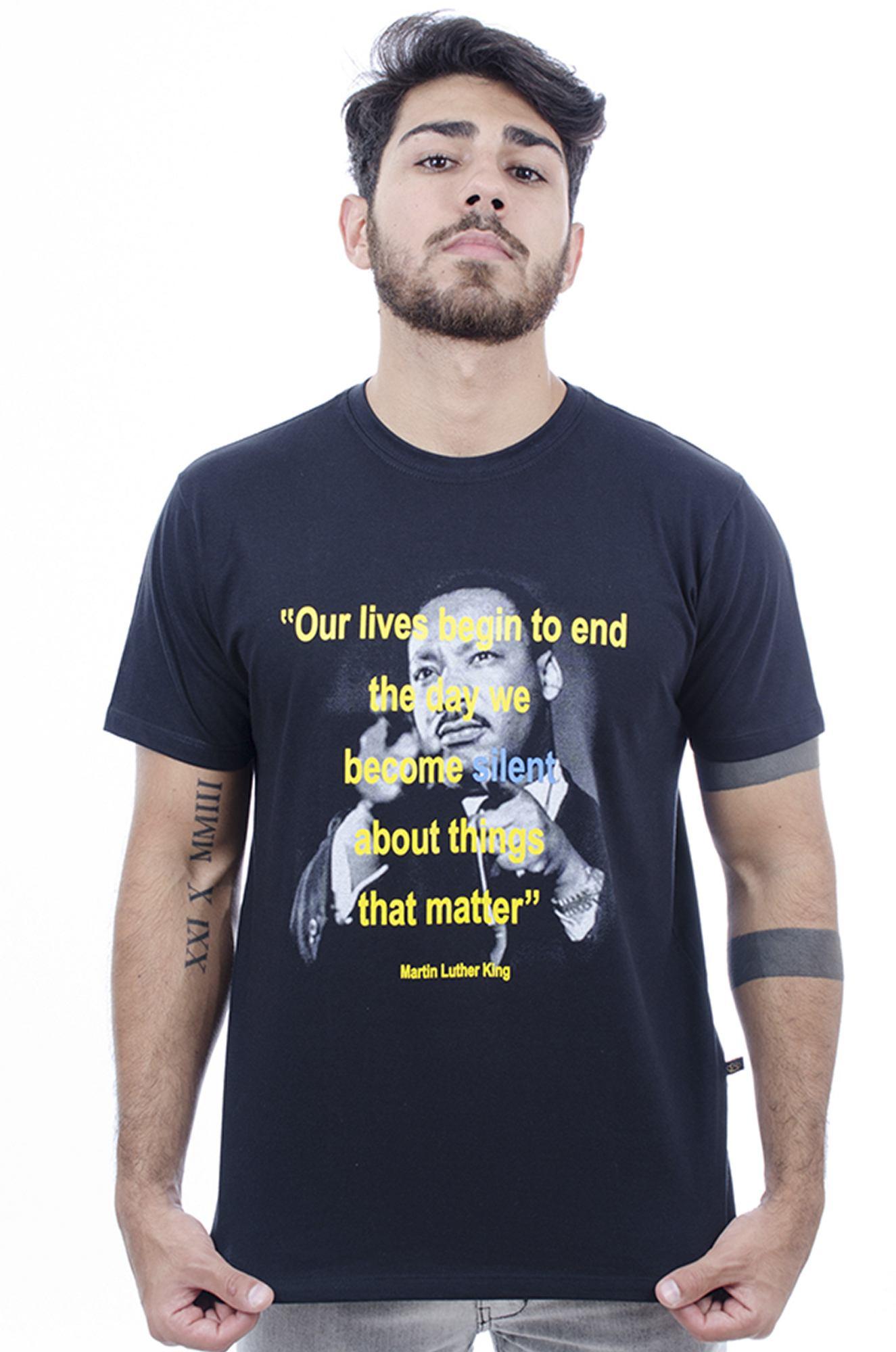 Camiseta MasculinaEstampada Martin Preto Hardivision