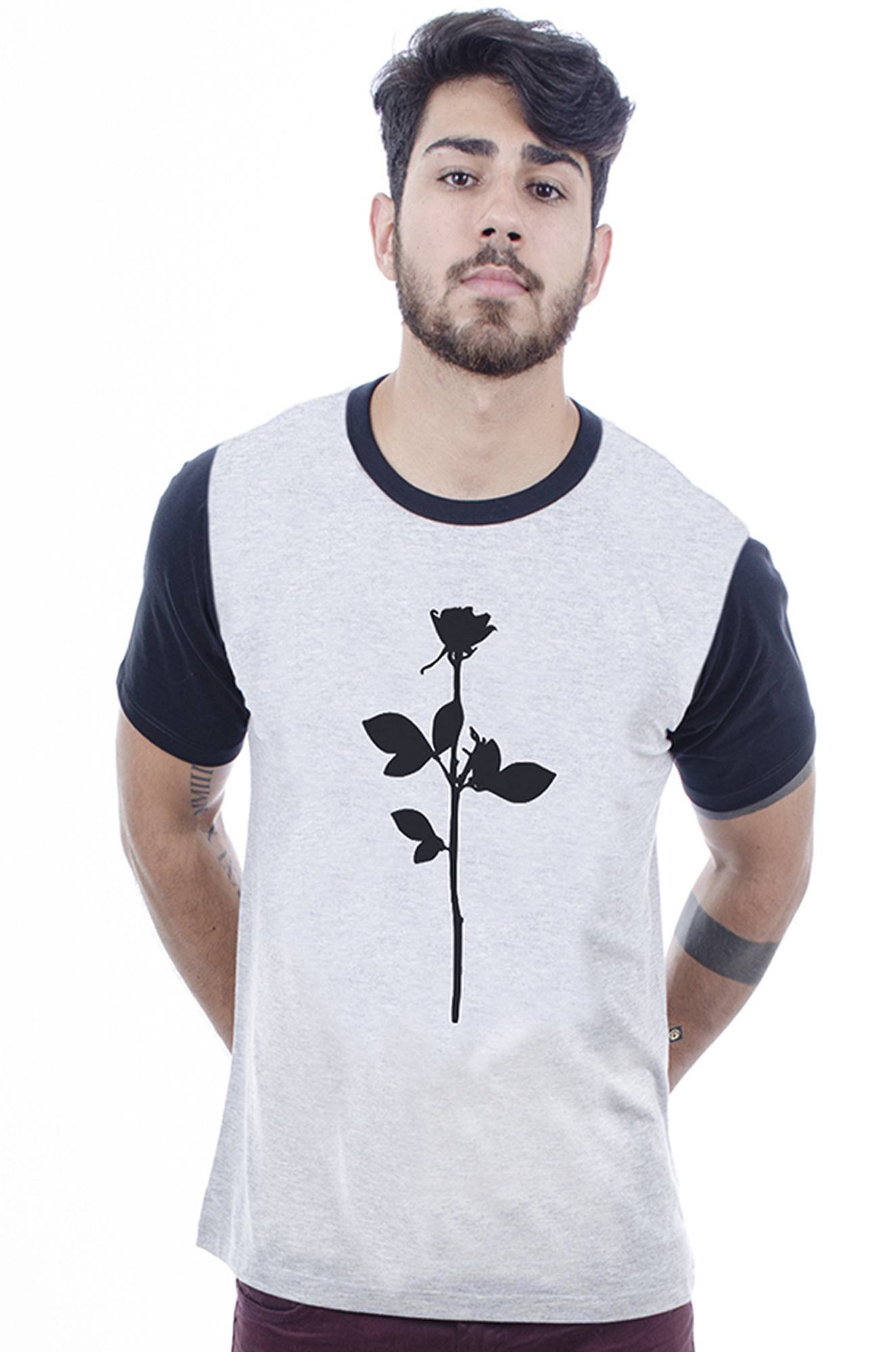 Camiseta Masculina estampada Silence Cinza Mescla Hardivision
