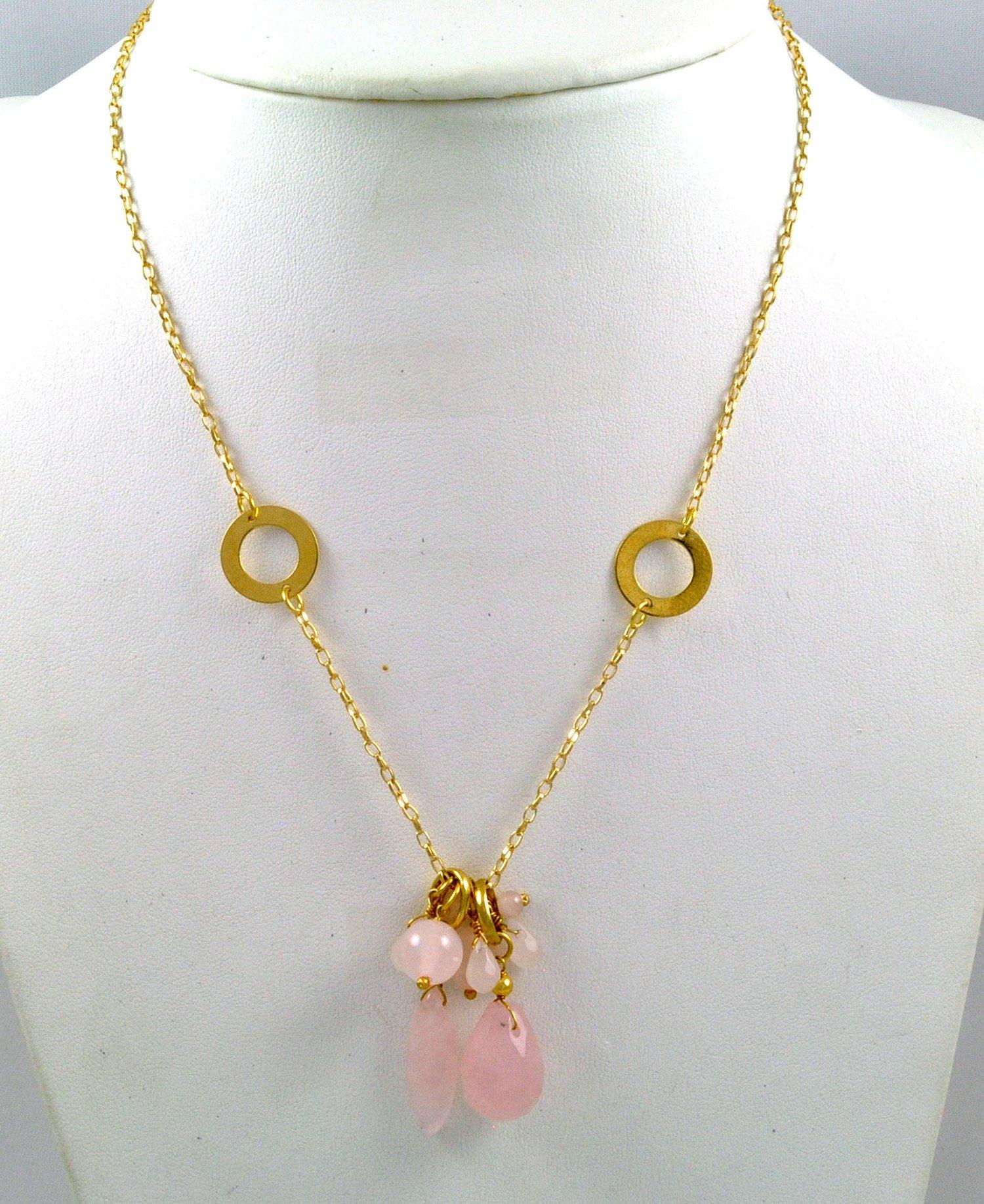 Colar Banhado A Ouro 18K E Pedra Natural Quartzo Rosa