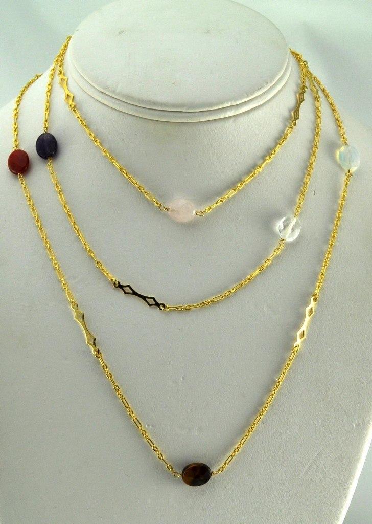 Colar Tita Karan Banhado a Ouro 18K com Pedras Semipreciosas
