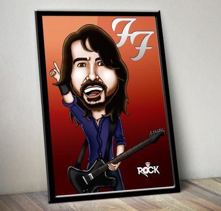 Pôster com Moldura Mitos do Rock Dave Grohl Foo Fighters