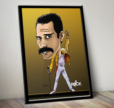 Pôster com Moldura Mitos do Rock Freddie Mercury Queen