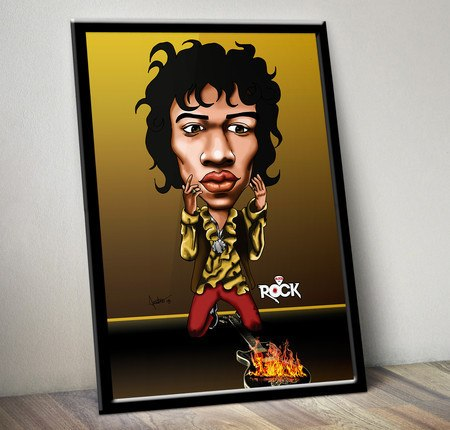Pôster com Moldura Mitos do Rock Jimi Hendrix