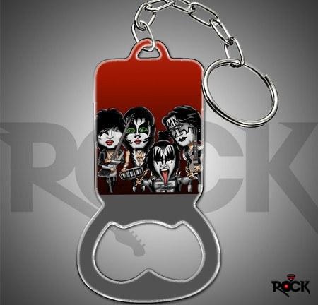 Chaveiro de Metal Abridor de Garrafa Mitos do Rock Kiss