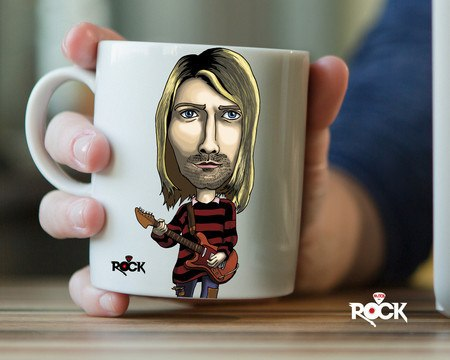 Caneca Exclusiva Mitos do Rock Kurt Cobain Nirvana