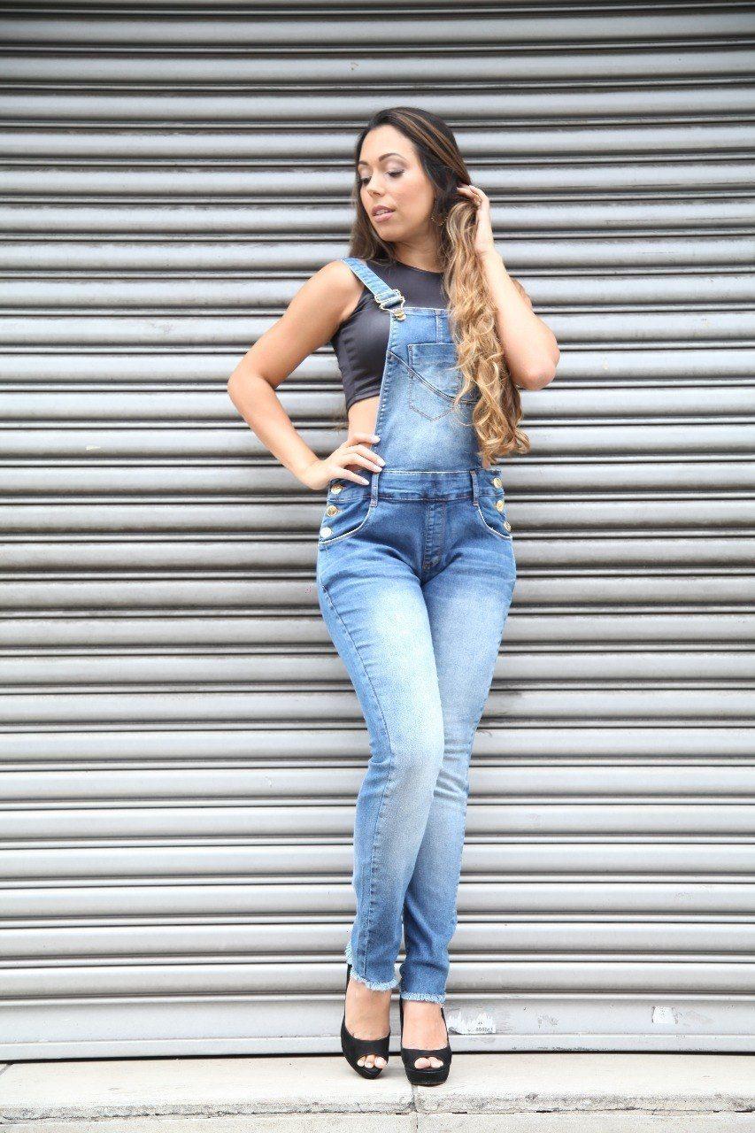 Macacão Jeans BoyFriend Azul Médio [70074]