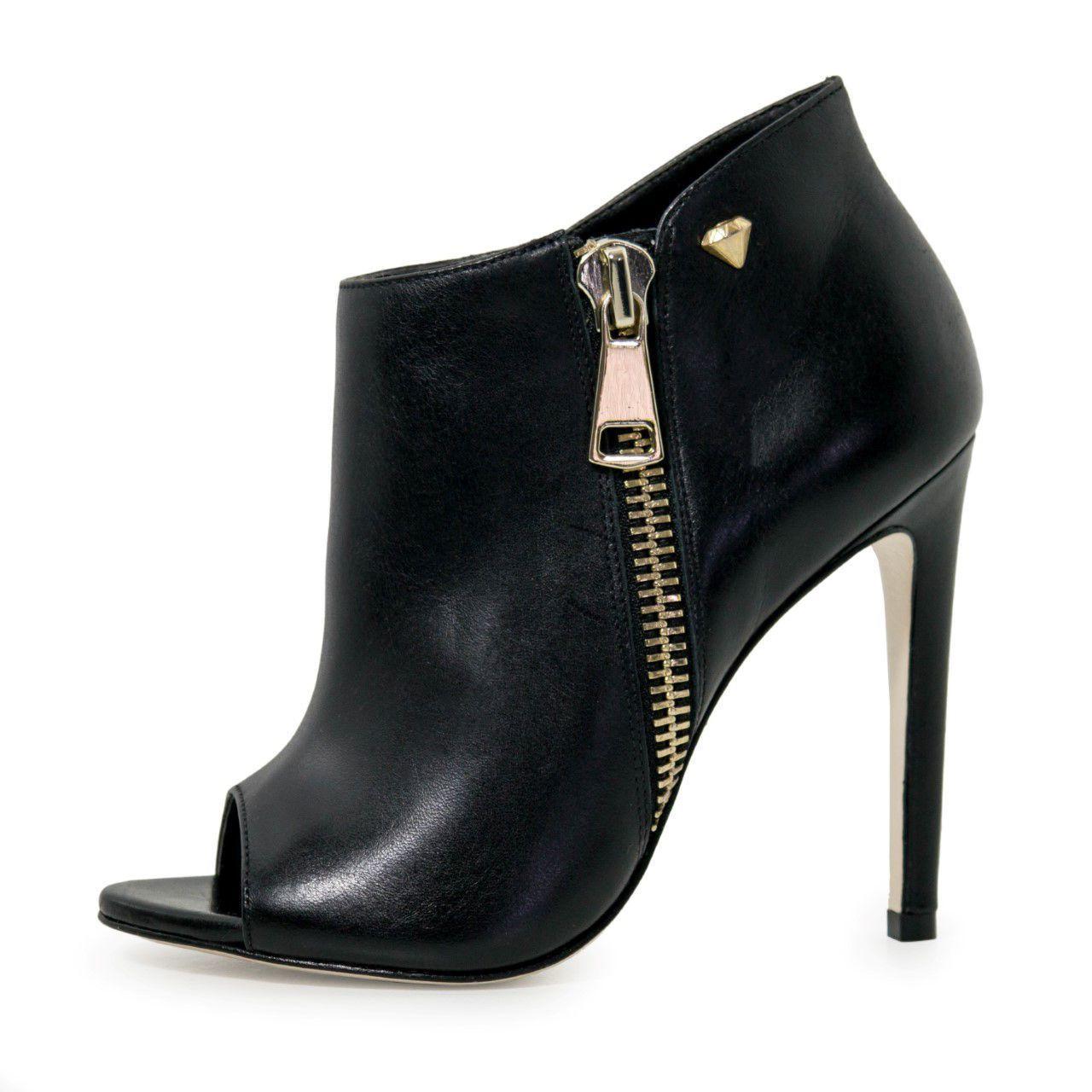 Bota Open Boot Conceito Fashion Couro Napa Preto