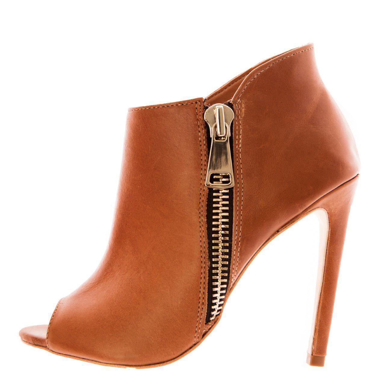 Bota Open Boot Conceito Fashion Couro Whisky
