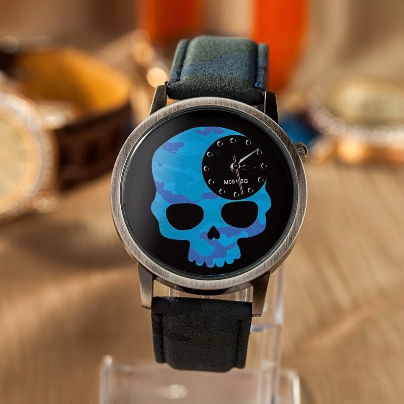 Relógio Caveira Camuflado Azul e Verde – SkullAchando