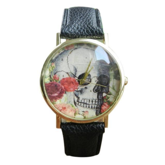 Relógio Caveira e Rosas - Preto