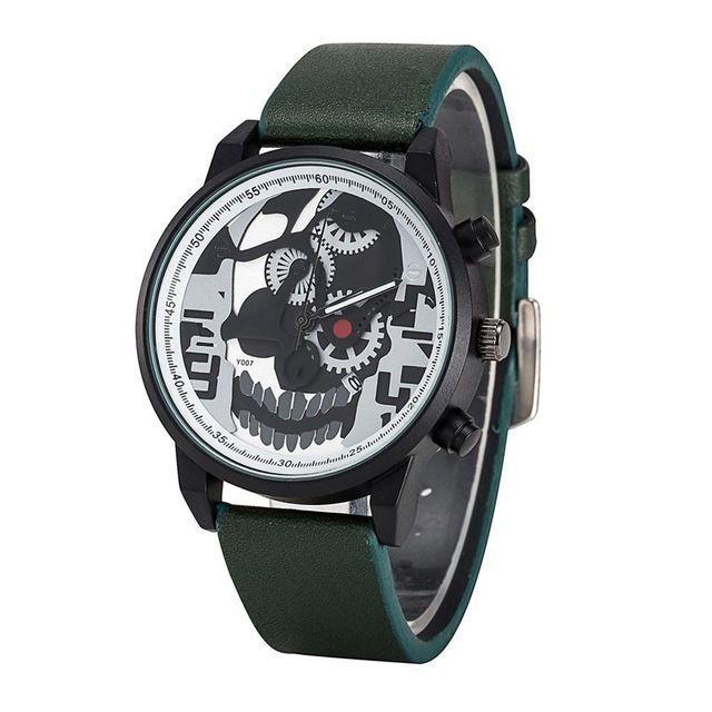 Relógio Caveira Engrenagens - Verde