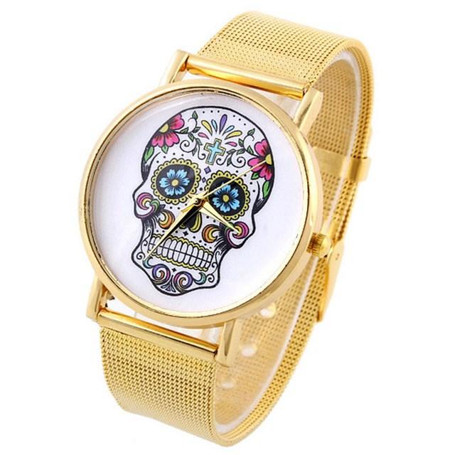 Relógio Caveira Mexicana - Aço Dourado