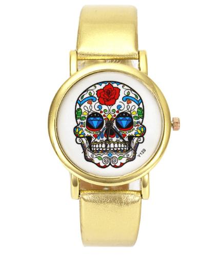 Relógio Caveira Mexicana Couro - Dourado