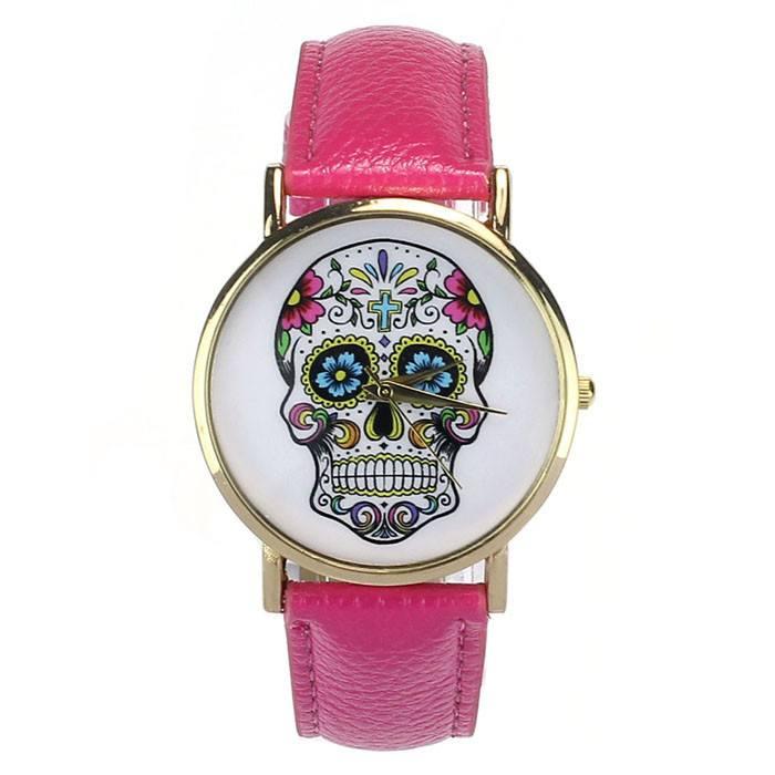 Relógio Caveira Mexicana Couro - Pink