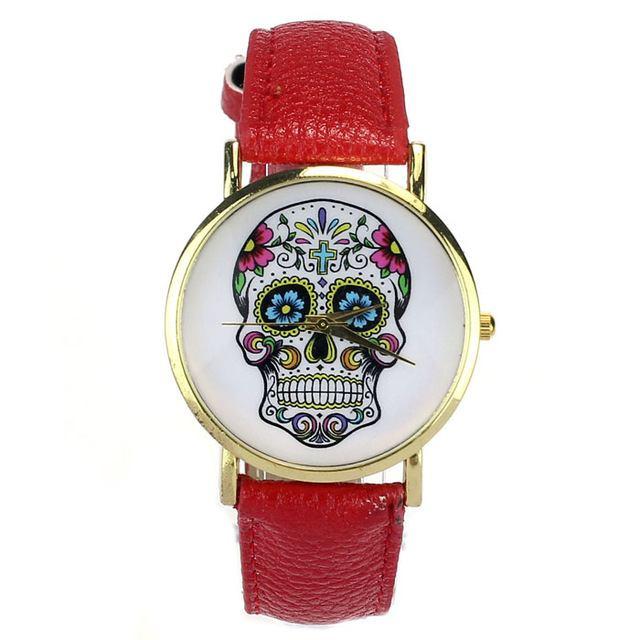 Relógio Caveira Mexicana Couro - Vermelho