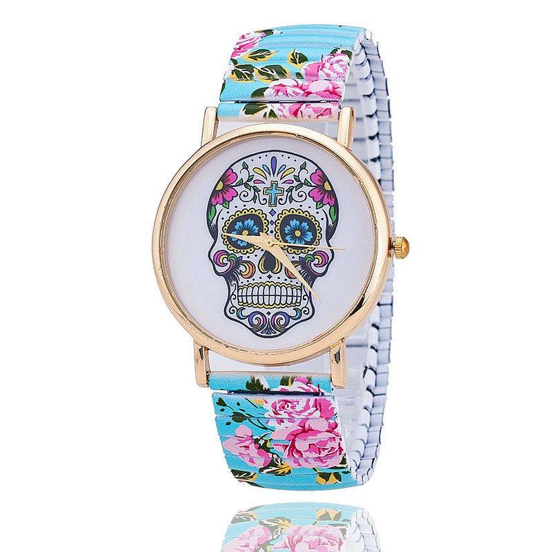 Relógio Caveira Mexicana Floral - Elástico Azul