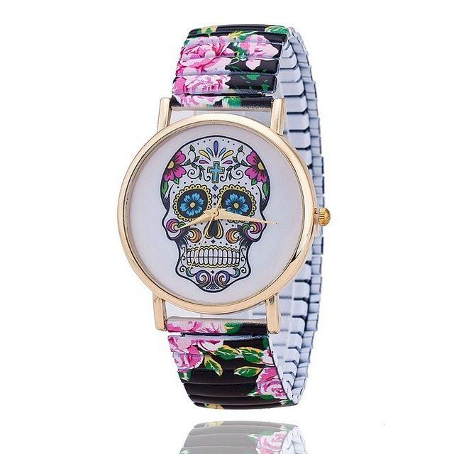 Relógio Caveira Mexicana Floral - Elástico Preto
