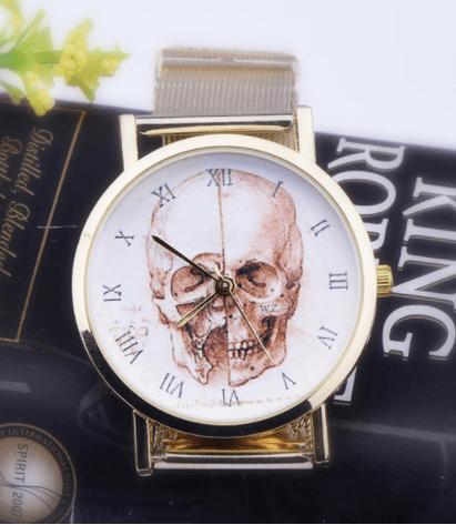 Relógio Caveira Romanos Aço Dourado