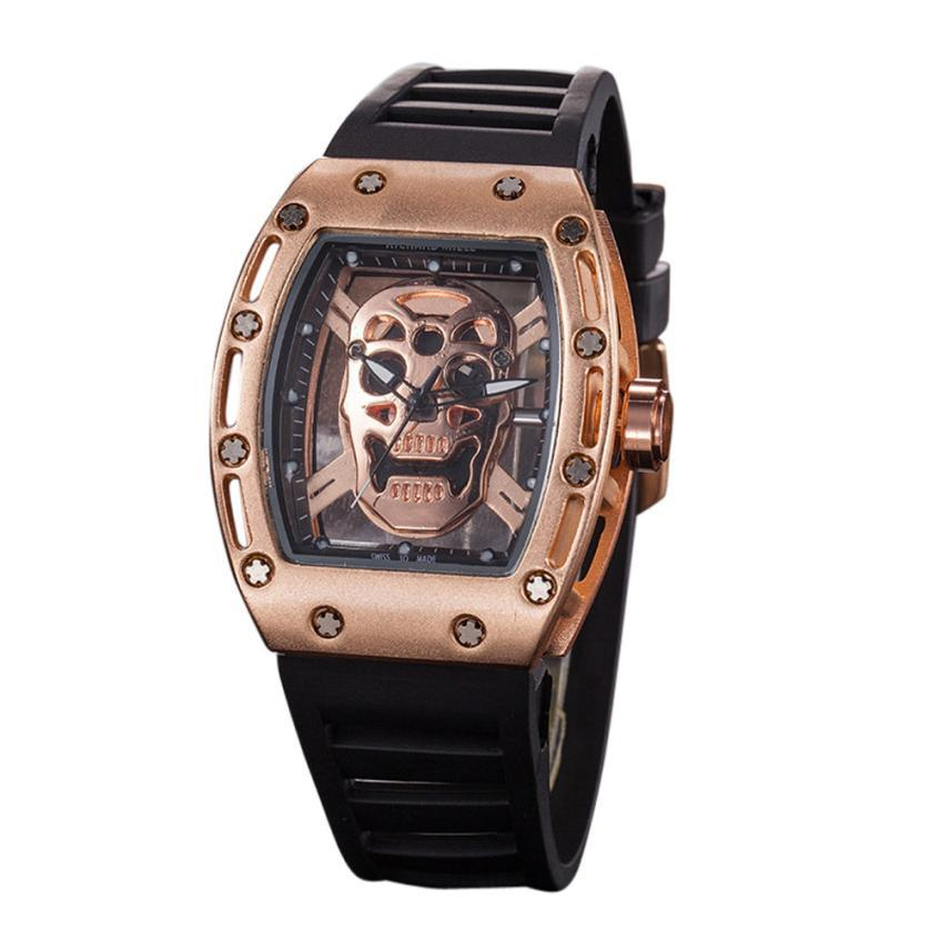 Relógio Caveira Screws - Dourado