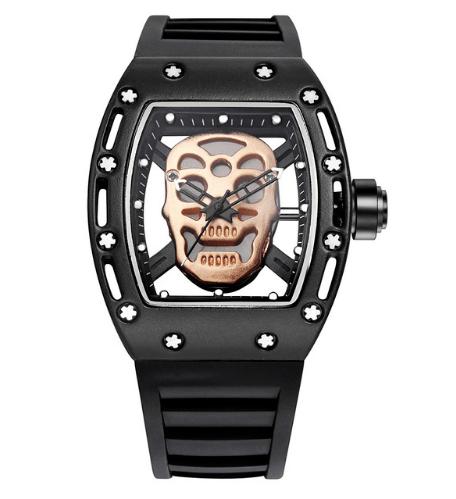 Relógio Caveira Screws Preto e Dourado – SkullAchando