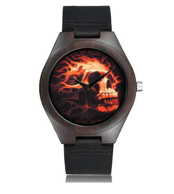 Relógio de Madeira - Fire Skull