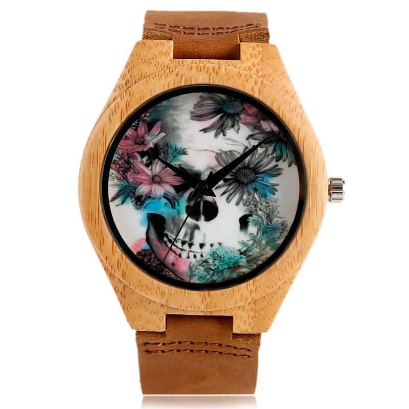 Relógio de Madeira - Flowers Skull