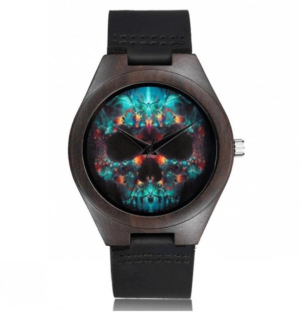 Relógio de Madeira - Psychedelic Skull II