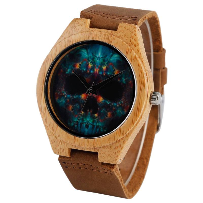 Relógio de Madeira - Psychedelic Skull