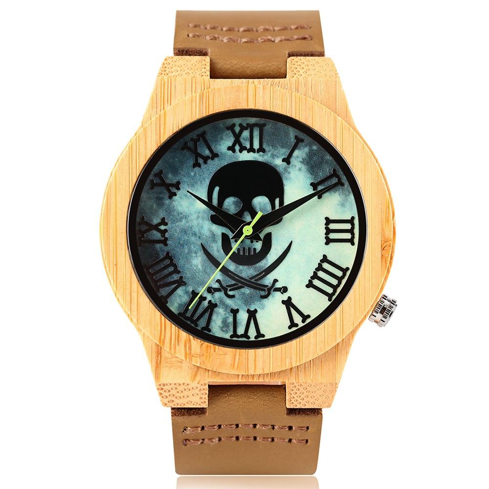 Relógio de Madeira - Sky Skull