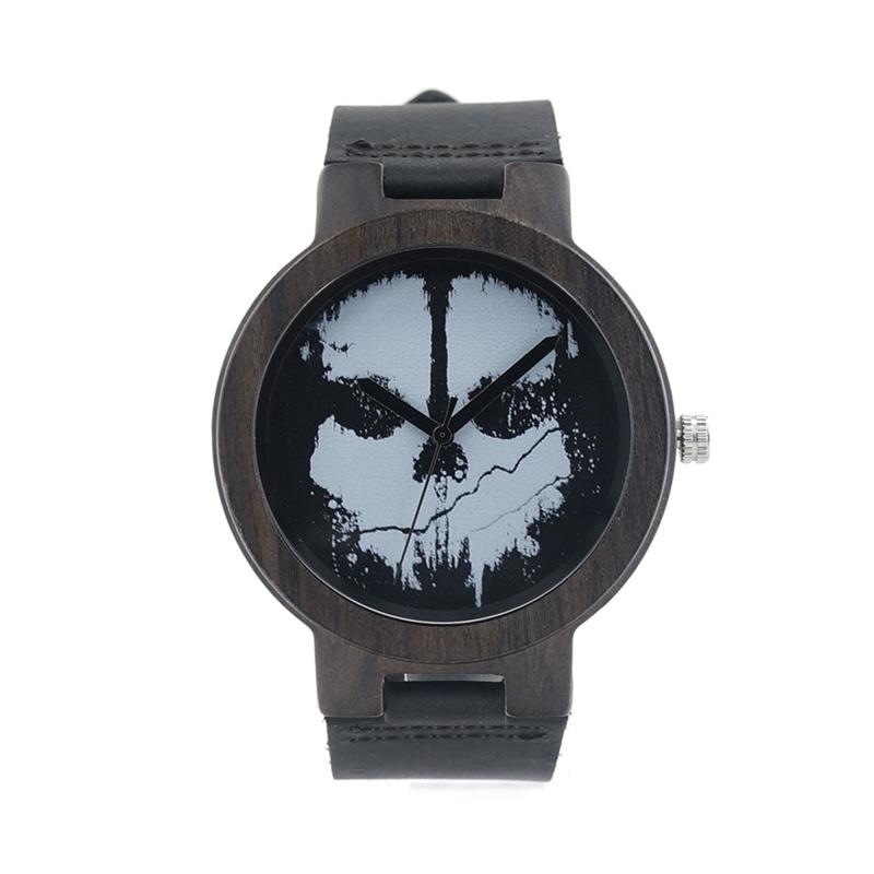 Relógio de Madeira - White Skull