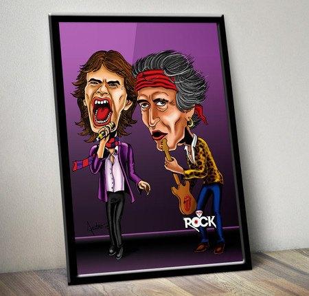 Pôster com Moldura Mitos do Rock Rolling Stones