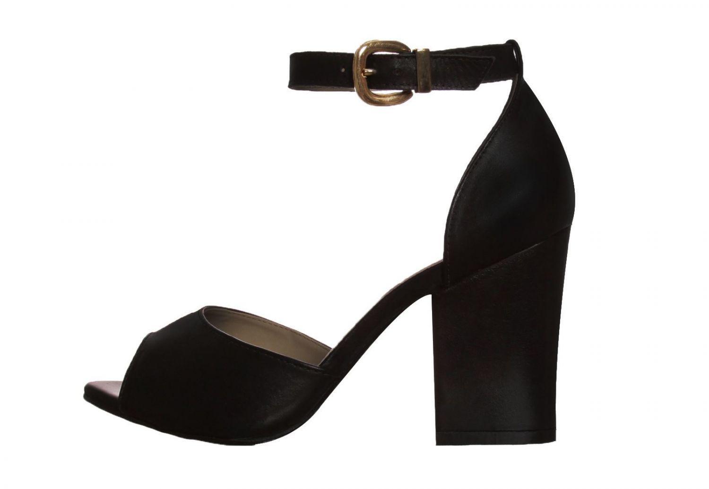 Sandália Salto Grosso Conceito Fashion Couro Napa Preta