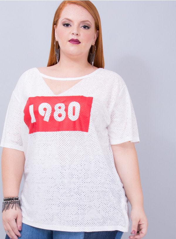 T-shirt em Malha Podrinha 1980 Chocker Branca